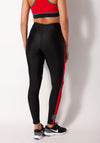 Black legging  red stripe down side rear view