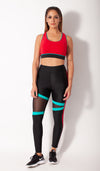 Black legging with triangle mesh red stripe down side with red bra pairing