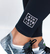 Butter Black legging detail view with Athleteist logo