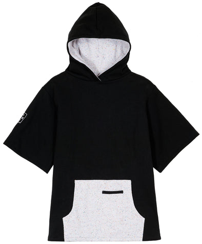 front flat view short sleeve black hoodie with White speckled off white pockets