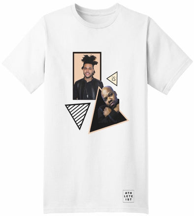 The Weeknd is too short white  tshirt front view