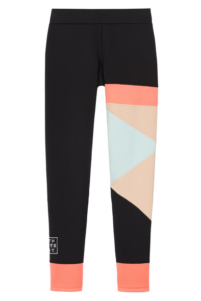 Legging with geometric shapes of coral mint nude flat view