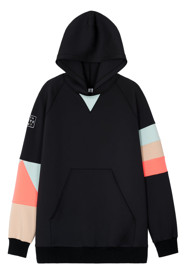 Hoodie with color block neon, cool mint, and nude