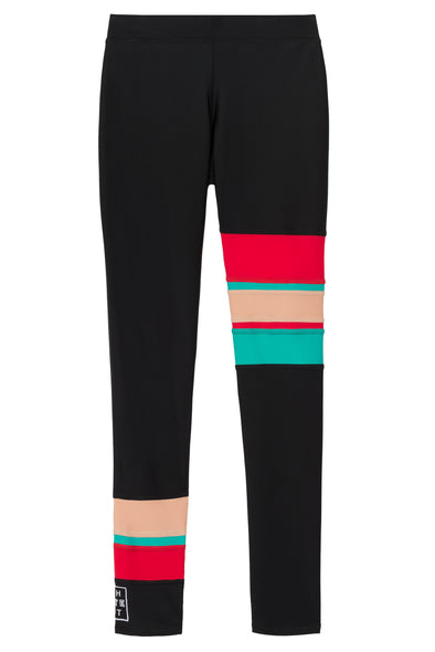 Black legging with red nude turquoise stripes front flat view