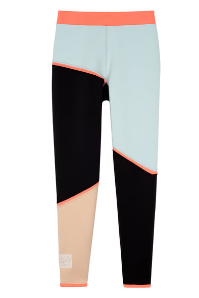 Front flat view black nude mint color block legging