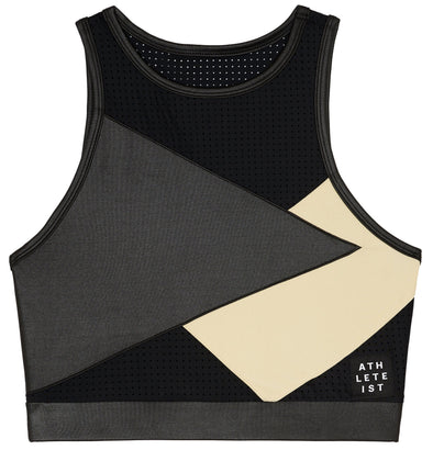 Black and Nude mesh top sports bra front view