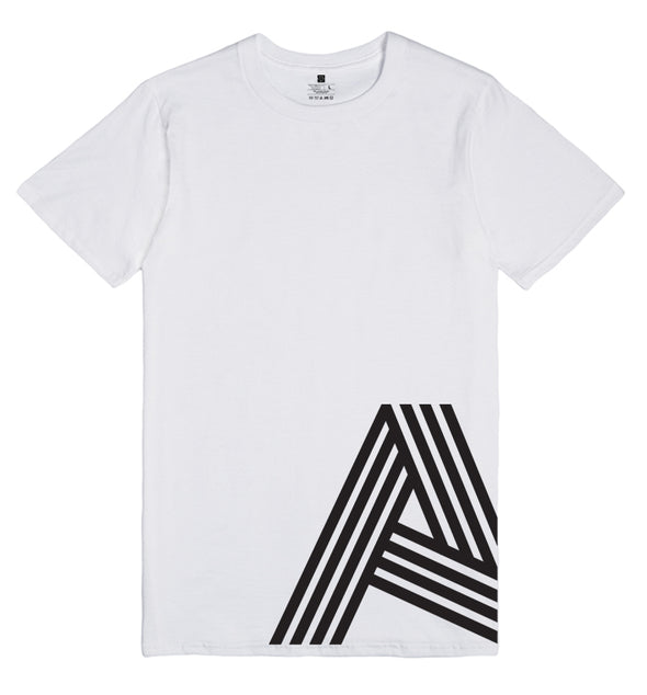 White t-shirt with big A logo on bottom right