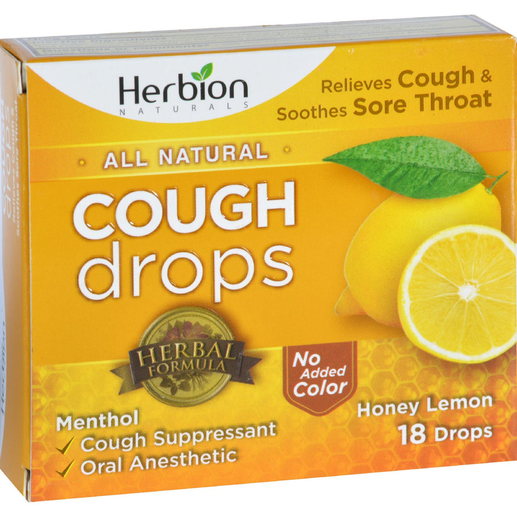 Herbion Naturals Cough Drops  All Natural  Honey Lemon  18 Drops