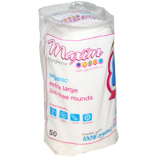 Maxim Hygiene Products Organic Cotton Rounds Extra Large 50 ct