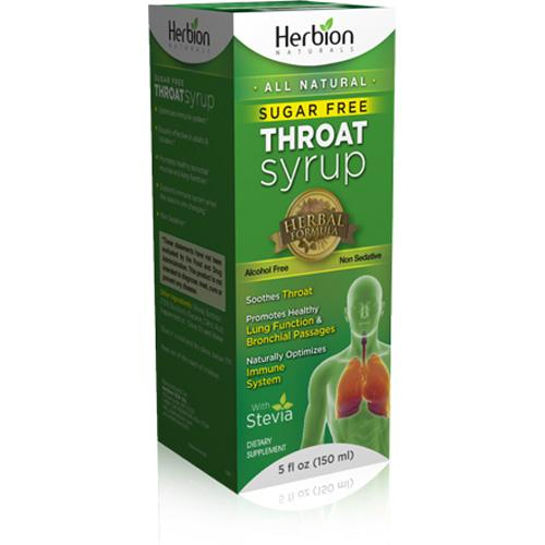 Herbion Naturals Throat Syrup  All Natural  Sugar Free  5 oz
