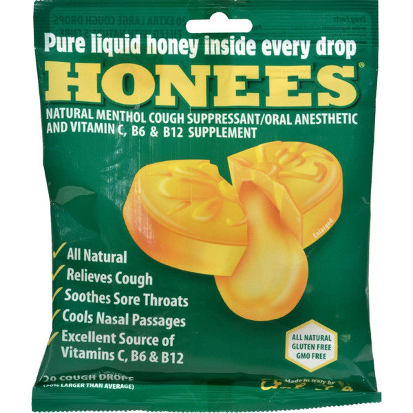 Honees Cough Drops  Honey Lemon  Lemon Menthol  20 Cough Drops