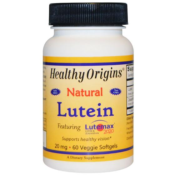 Healthy Origins Lutein  Natural  Lutemax 2020  20 mg  60 Vegetarian Softgels