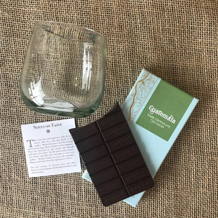 Chocolate and wine, French broad chocolate asheville nc, small batch graphics and goods new bern nc, stemless wine glass, recycled glass, wine tasting, chocolate tastings, perfect pair, hand made, hostess gift