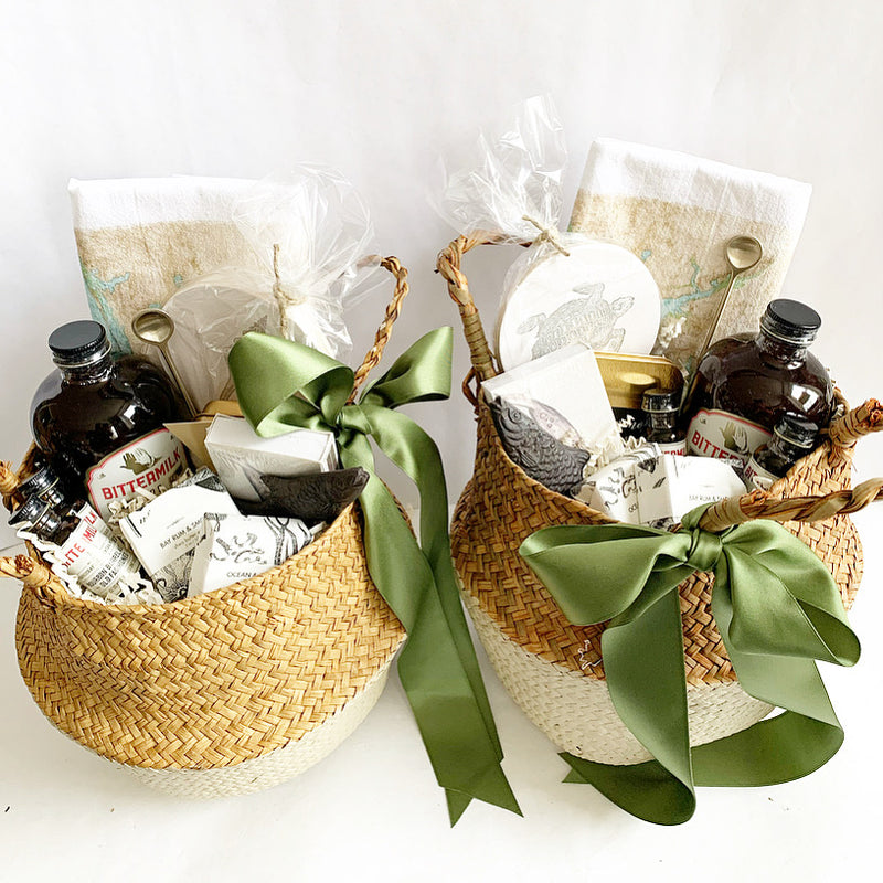 The perfect gift for a cocktail lover.  Cocktail mixers and other goodies packaged up beautifully in our signature belly basket.  New Bern  NC