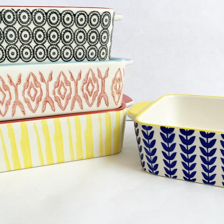Stoneware baking bowls safe for oven, microwave and dishwasher. Available at Small Batch New Bern NC