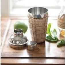 Stainless Steel + Rattan Cocktail Shaker