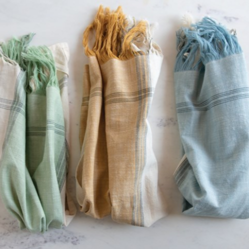 Set of 3 Cotton Tea Towels with Fringe