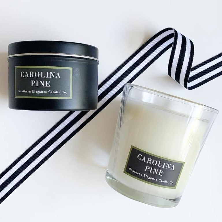 Carolina Pine scented candle, travel or tumbler size. Available at Small Batch Gallery New Bern NC