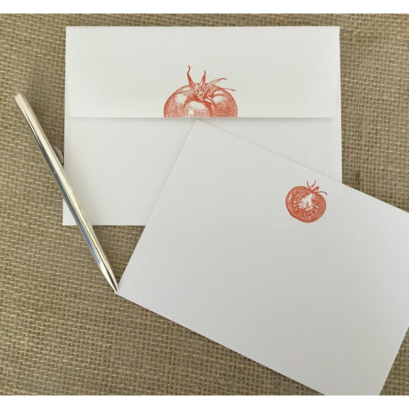 Handmade letterpress notecards & envelopes adorned with a sweet red tomato.  Availabel at Small Batch Graphics & Goods in New Bern, NC