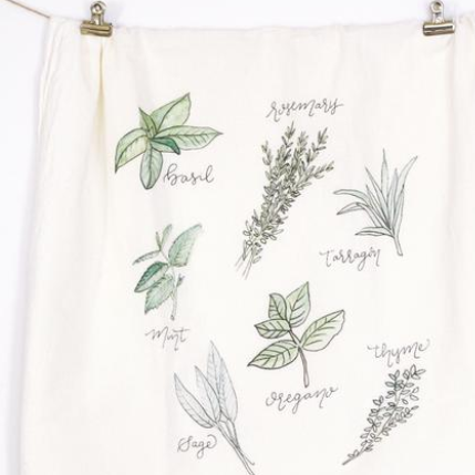These beautiful 100% cotton flour sack tea towels are durable and absorbent! Printed with the artist's own watercolor designs, they have been washed twice and lightly ironed. They would make a great gift for anyone who loves to cook or just likes to look at something pretty in their kitchen. Made in USA available at Small Batch Gallery New Bern NC
