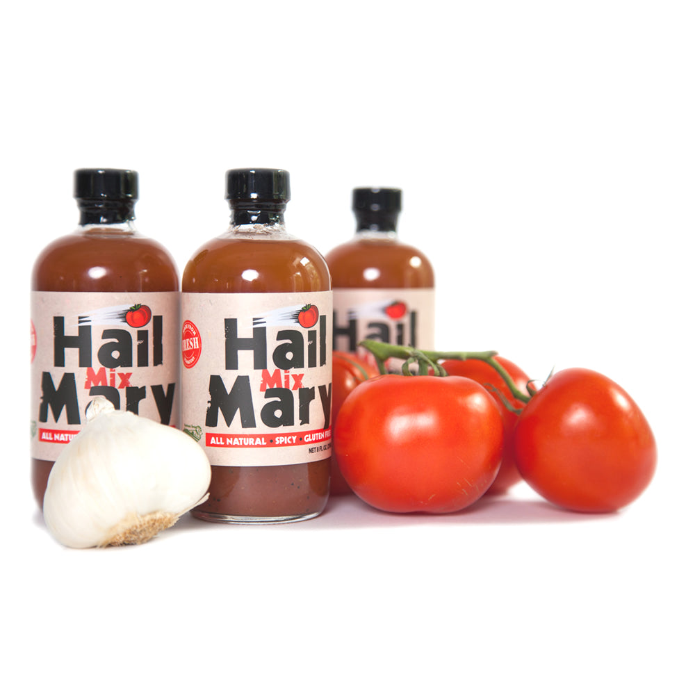 Hail Mary Bloody Mary mix made in Raleigh, NC. Available at Small Batch New Bern NC