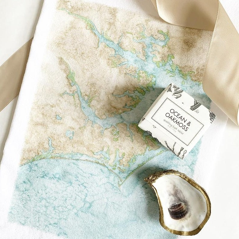 Gift with Crystal Coast hand towel, SC oyster dish and sea inspired petite soap. Available at Small Batch New Bern NC