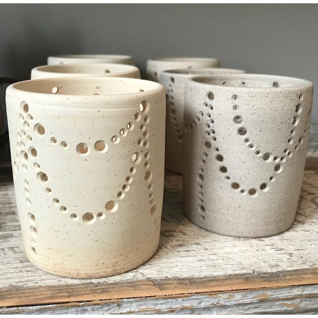 Ceramic Luminary, candle holder, tea lights, centerpiece, table, mantel, cozy, inviting, evening, popular gifts, christmas gift, available at Small Batch Graphics and Goods in New Bern NC