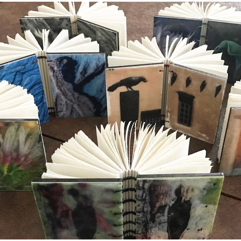 Encaustic journals, John F. McQuade photography, beeswax, coptic stitching process, handmade and unique, available at Small Batch Graphics and Goods in New Bern NC