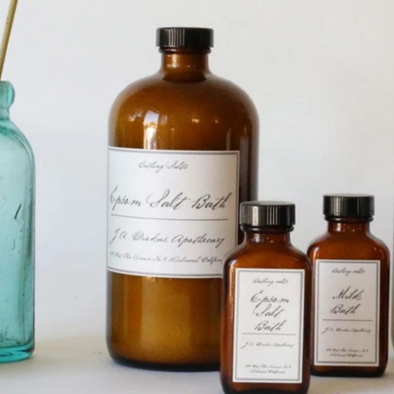 All natural Apothecary bath salts available in large and small sizes at Small Batch in New Bern NC