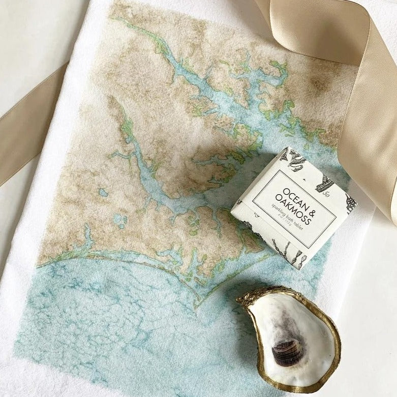 Flour sack tea towel printed with Crystal Coast of NC or Spring Tide Oyster available in New Bern NC