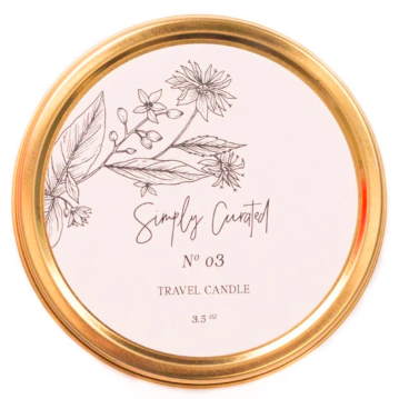 Simply Curated round tin travel candle inspired by vintage botanicals new bern nc.