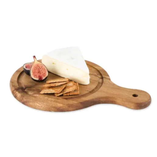 round acacia wood cheese paddle, available in small and large. Small Batch New Bern, NC