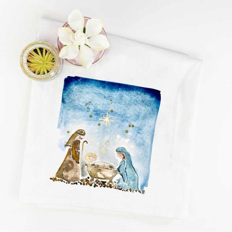 Watercolor Nativity Scene Tea Towel