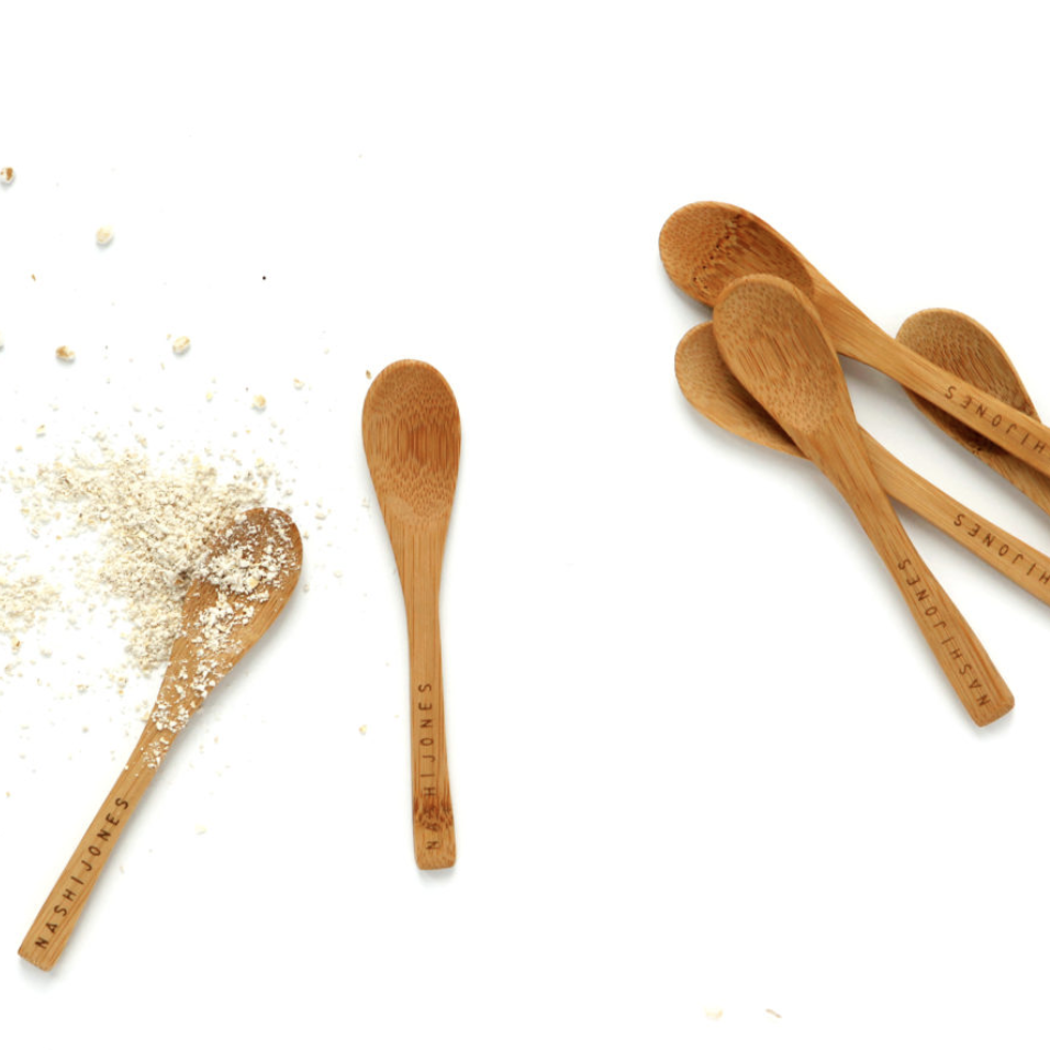 Tiny bamboo spoon for mixing facial products from Nash + Jones. Small batch new bern nc