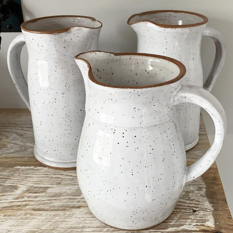 Handmade ceramic pitcher. Morehead CIty, NC. Available at Small Batch Gallery in NEw Bern NC