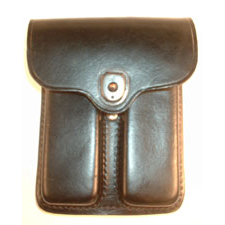 PCL-39-L-PLAIN-BLACK <br> 1911 Leather 2 Pocket Pouch Plain Black