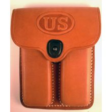 PCL-39-L-US-TAN <br> 1911 Leather 2 Pocket Pouch US Tan