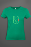 T-shirt Femme  Oh Yeahhh Metal Horns Green Power