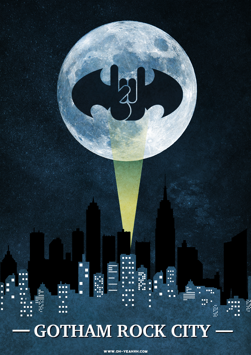 Metal horns batman poster