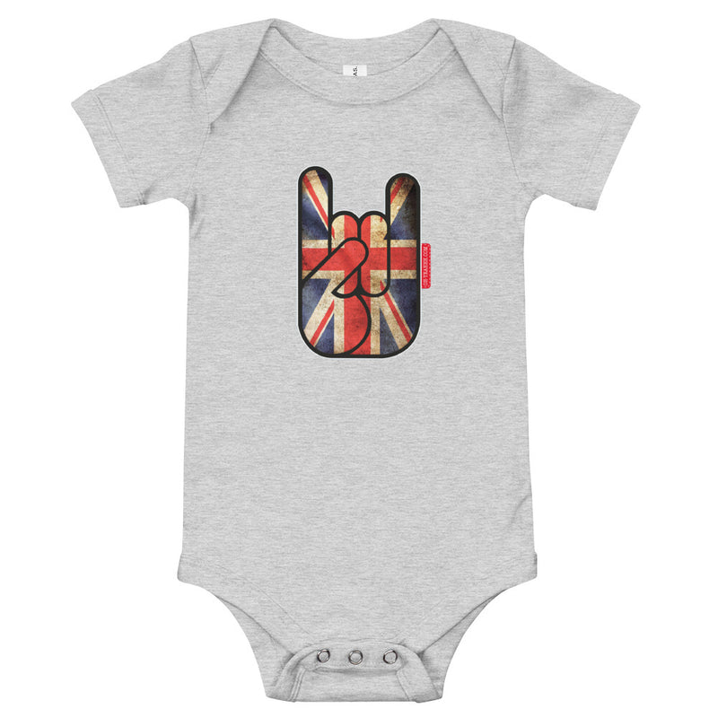 body bébé oh yeahhh metal horns devils sign baby union jack grey