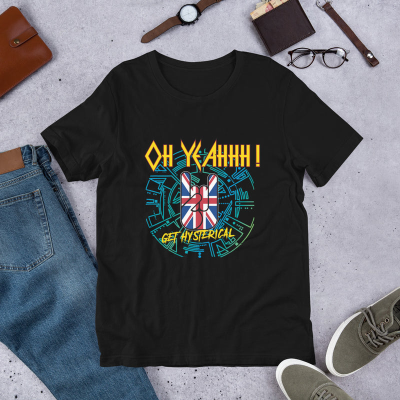 T shirt rock metal hysteria, def leppard fan, oh yeahhh, metal horns, great britain, union jack