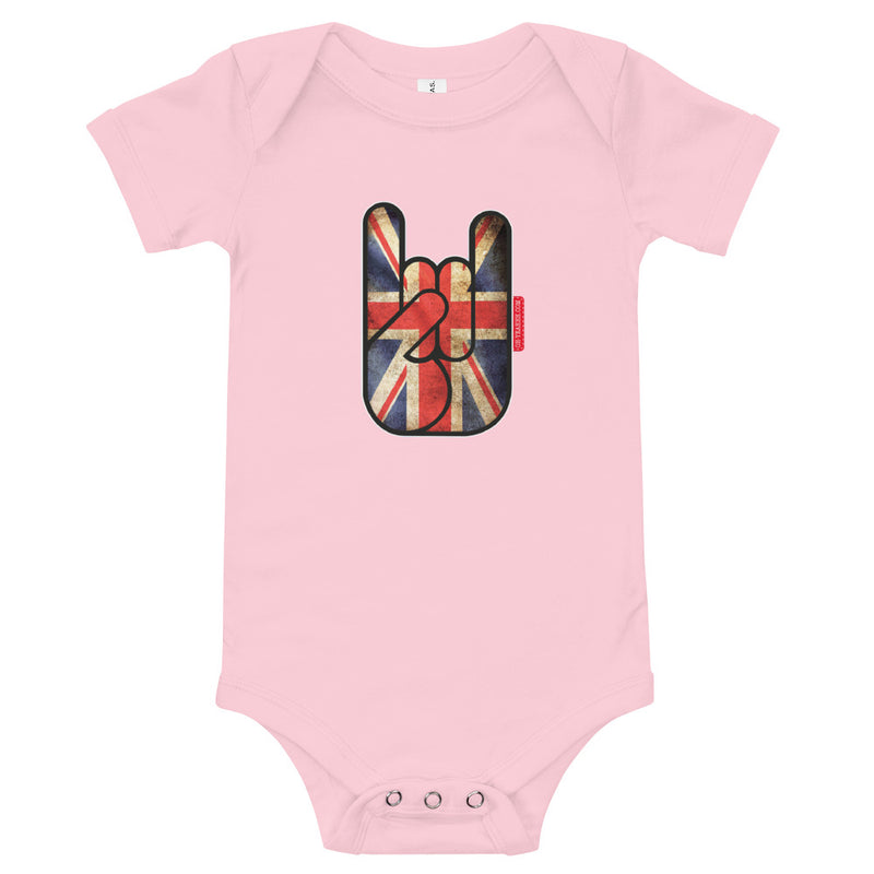 body bébé oh yeahhh metal horns devils sign baby union jack pink