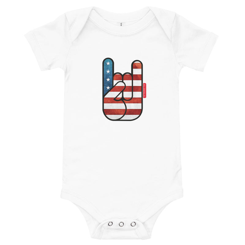 body bébé oh yeahhh metal horns devils sign american flag baby clothing