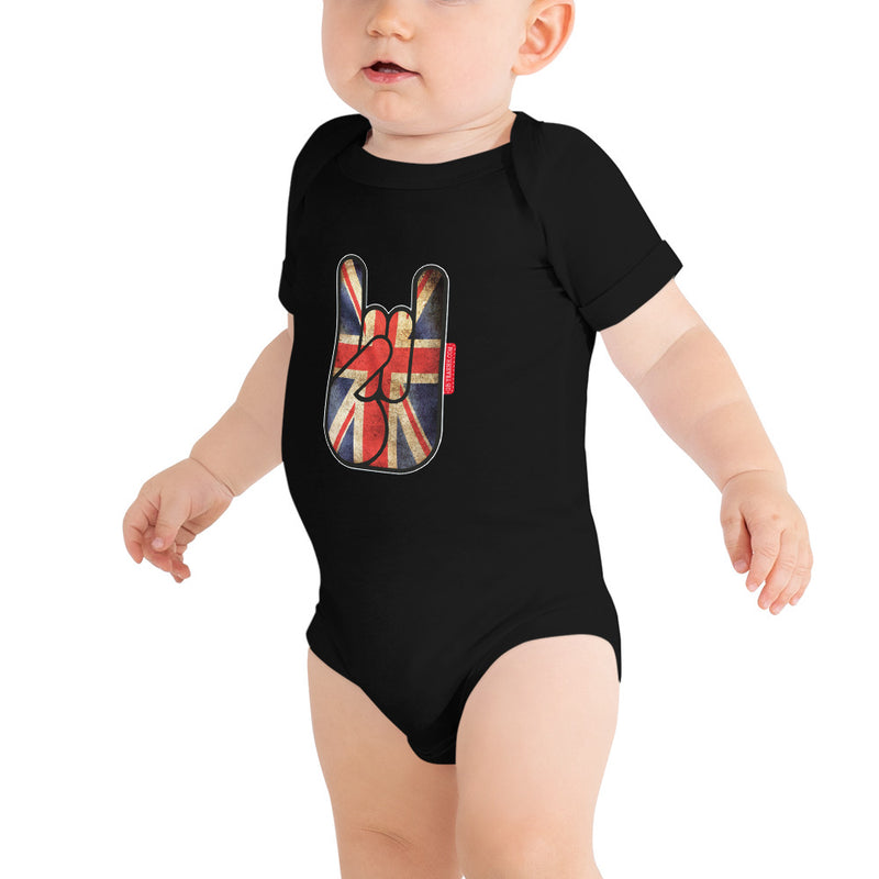body bébé oh yeahhh metal horns devils sign baby union jack black