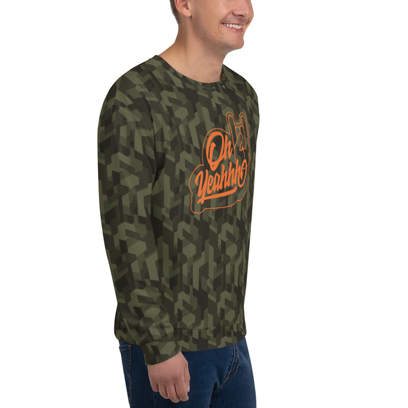 Sweatshirt oh yeahhh, sweat rock camouflage, impression intégrale, metal, metalhorns, metal sign