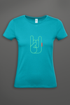 T-shirt Femme OH YEAHHH Metal Horns - Turquoise
