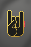 sticker Metal Horns gold black vinyle