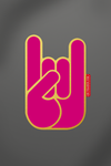 sticker Metal Horns gold pink vinyle