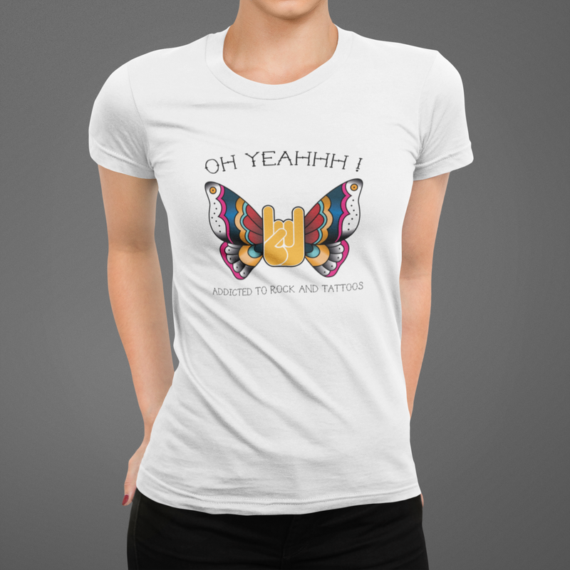 T-shirt femme, style rock, buttefly, tattoo, oh yeahhh