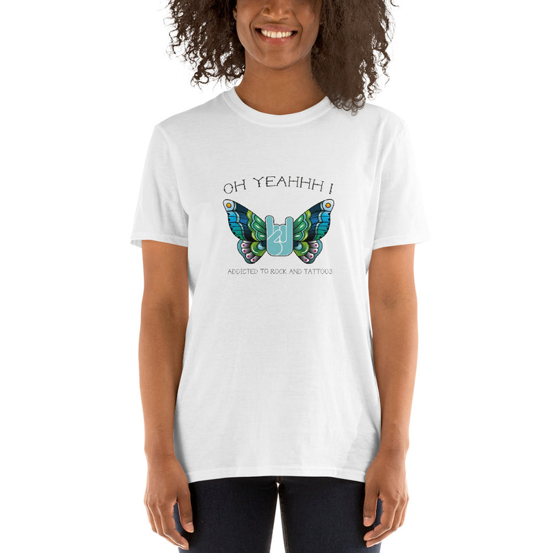 T-shirt Oh Yeahhh - Iron Butterfly Blue on white